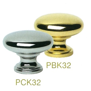 PBK32 32mm DIA. Polished Brass Metal Knobs